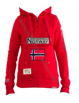 SUDADERA GYMCLASS MUJER ASS D ROJO GEOGRAPHICAL NORWAY 2018